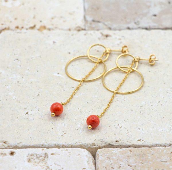 Boucles anneaux chics Corail rouge