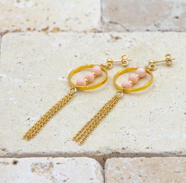 Boucles trio perles Peau d'ange