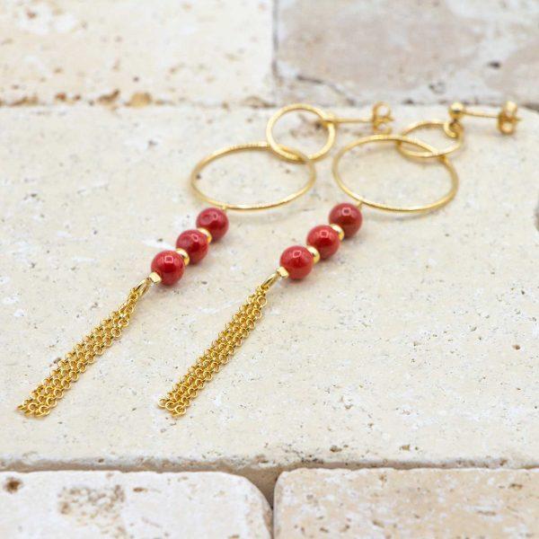 Boucles trio perles de corail & Double anneaux